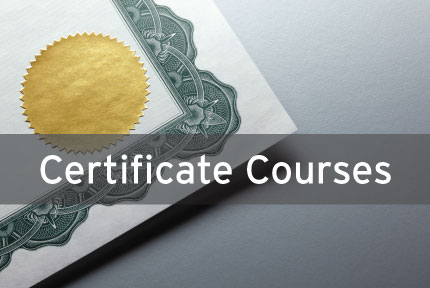 Corner of certificate with text Certificate Courses